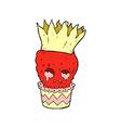 spooky skull cupcake comic cartoon vector image vector image