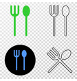 spoon and fork eps icon with contour vector image