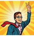 successful retro businessman a gesture victory vector image vector image