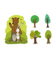 summer picture cartoon cute forest animals vector image