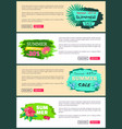 summer sale flyers set push buttons promo banners vector image vector image