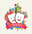 Theater mask icon concept label with color shapes vector image
