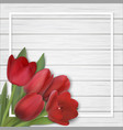 tulips bouquet on wooden background vector image vector image