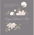 valentines day card with pink flowers vector image vector image