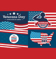 veterans day banner set flat style vector image vector image