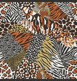 wild animal skins patchwork wallpaper vector image vector image