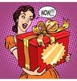 Woman and big gift box vector image vector image