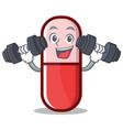 fitness pill capsule cartoon character vector image