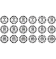 poker chips set black and white isolated on white vector image