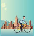 a man bikes bicycle around the city vector image