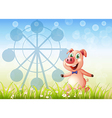 A pig near the ferris wheel at the hill vector image vector image