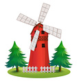 A tall wooden building with a windmill vector image vector image