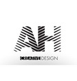 ah a h lines letter design with creative elegant vector image