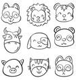animal head cute funny doodles vector image