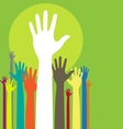 background with raised hands and copy space on gre vector image vector image