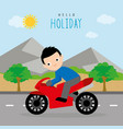 boy summer trip travel vacation holiday vector image