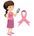 breast cancer pink ribbon on white background vector image vector image