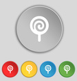 candy icon sign Symbol on five flat buttons vector image