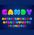 candy jelly font kids candies latin alphabet vector image vector image