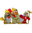 cartoon funny warriors bogatyrs vector image