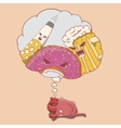 cartoon heart character afraid of alcohol donut vector image vector image