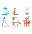 Cat tower and scratching post flat icon set