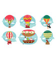 christmas characters flying in hot air balloons vector image