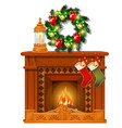 christmas sketch with fireplace and decorations vector image vector image