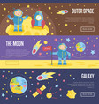 collection of space theme cartoon web banners vector image vector image