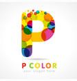 colored p logo concept vector image vector image