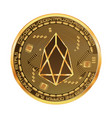 crypto currency eos golden symbol vector image vector image