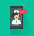 doctor online on cellphone vector image vector image