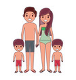 familiy wearing swimsuits in the vacations vector image