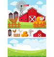 farm scene with field and chickens vector image