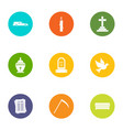 fatality icons set flat style vector image vector image
