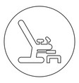 gynecological chair icon black color in round vector image vector image