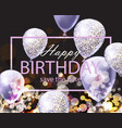 happy birthday card with shinny balloons festive vector image vector image