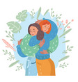 happy meeting of two friends hugging vector image vector image