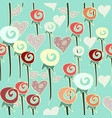 hearts and swirly flowers pattern in warm shades vector image vector image