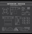 Interior Design Elements and Tools on Dark vector image vector image