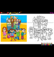 kids and teen characters coloring book vector image vector image