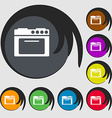 kitchen stove icon Symbols on eight colored vector image