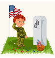 memorial day child on military cemeterylittle vector image vector image
