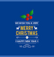 merry christmas creative design with blue vector image vector image