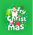 merry christmas greeting card with cute vector image