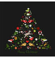merry christmas winter tree vector image