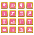 museum icons pink vector image vector image