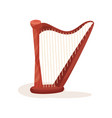 orchestral harp with wooden frame and metal vector image