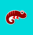paper sticker on stylish background lizard reptile vector image