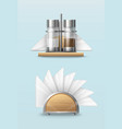 pepper and salt shakers with napkins vector image